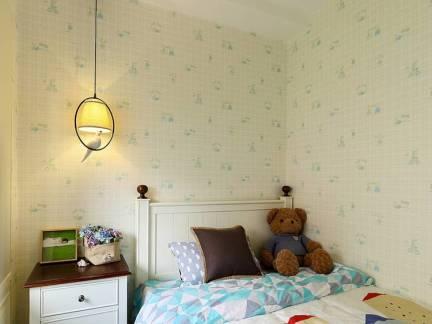 白色华美现代风格儿童房床头柜装修图片