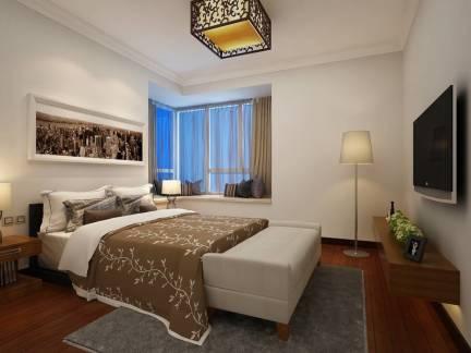 米色中式风格卧室优雅窗帘装修美图