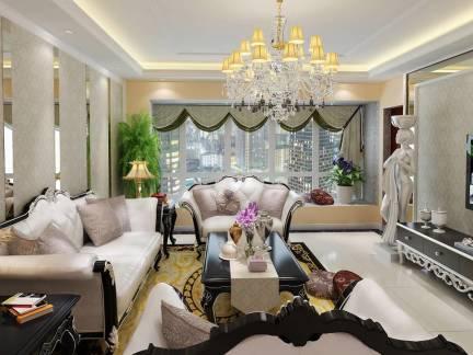 棕色唯美欧式风格客厅灯具装修设计图