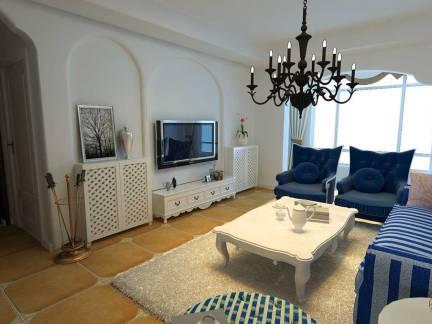 白色地中海风格客厅电视柜装修美图