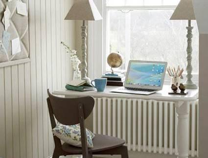 白色现代风格书房温馨飘窗装修图片