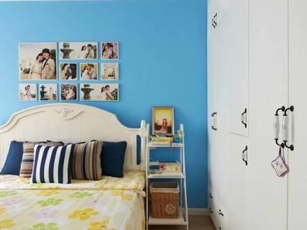 温馨白色地中海风格儿童房背景墙装修图片