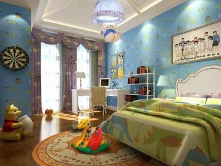 彩色舒适地中海风格儿童房吊顶装修设计图