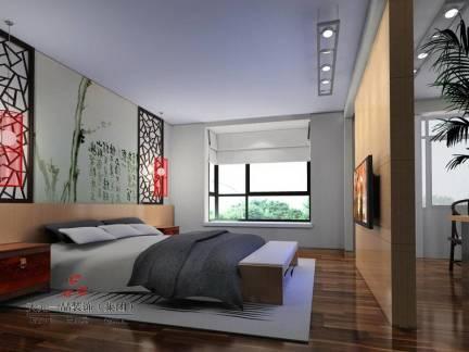 棕色现代风格时尚卧室床头柜装修设计图