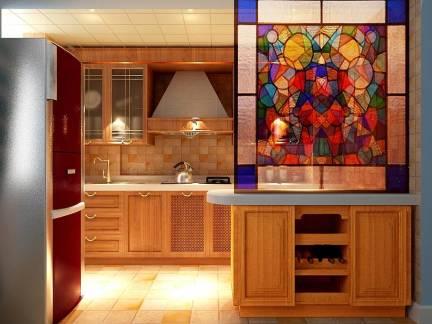 原木色东南亚风格厨房橱柜装修图片