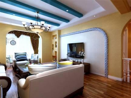 蓝色地中海风格客厅吊顶装修图片