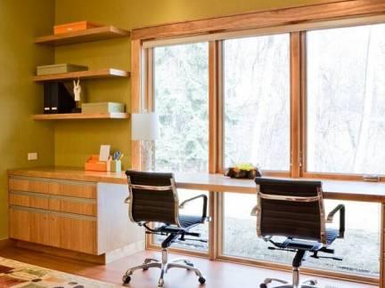 棕色现代风格书房飘窗装修效果图