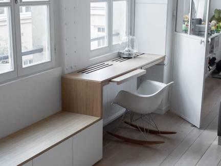 灰色现代风格书房飘窗装修图片