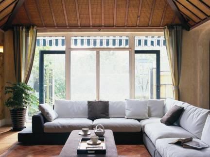 棕色现代风格客厅浪漫飘窗装修图片