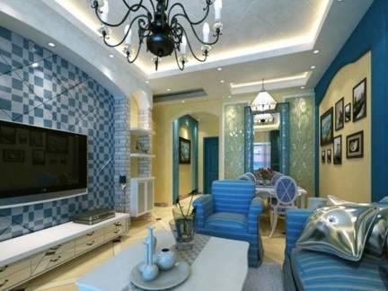 白色地中海风格客厅电视柜装修图片
