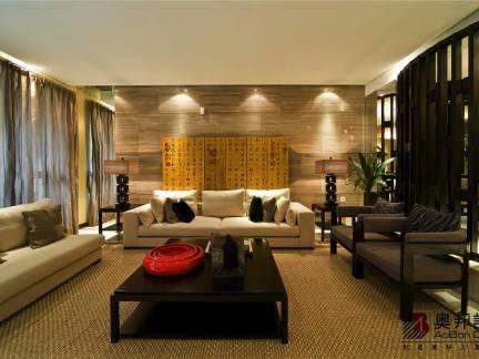 舒适灰色中式风格客厅窗帘装修效果图