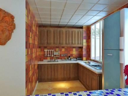 棕色东南亚风格厨房橱柜装修设计图