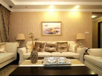 米色简欧风格客厅背景墙装修效果图