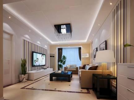 素雅米色简约现代风格客厅吊顶装修美图
