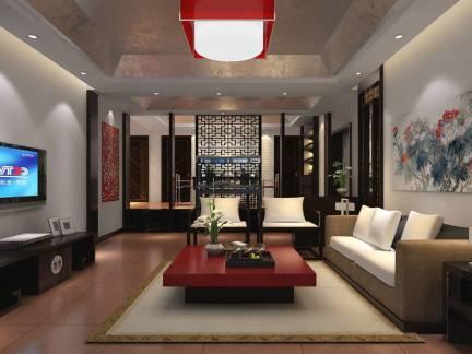 红色中式风格客厅吊顶装修美图