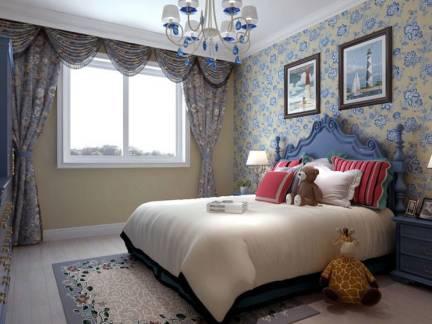 地中海风格卧室灰蓝色背景墙设计