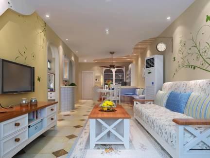 米色地中海风格客厅背景墙装修图片