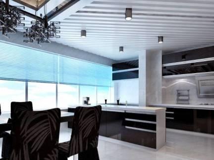 黑色现代风格厨房吊顶装修图片