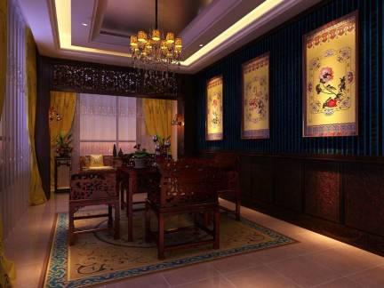 雅致棕色中式风格餐厅窗帘装修效果图