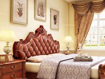 棕色欧式风格卧室舒适床头柜装修设计图