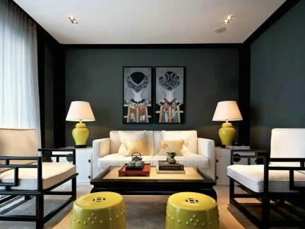 白色中式风格客厅文艺窗帘装修效果图
