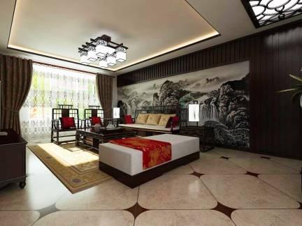 彩色雅致中式风格客厅窗帘装修效果图