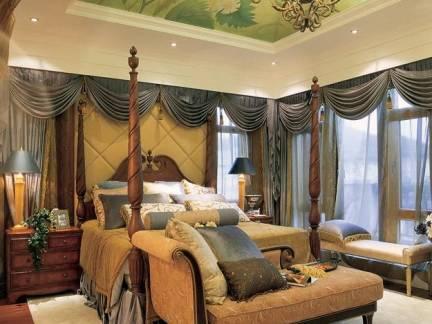 美式风格卧室绿色艺术吊顶装修图片