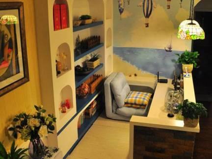 蓝色地中海风格儿童房背景墙装修图片