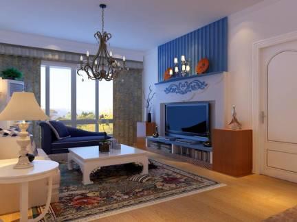 蓝色地中海风格客厅电视柜装修设计图
