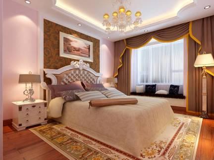 米色雅致欧式风格卧室吊顶装修效果图