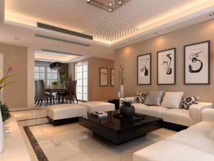 米色浪漫简约现代风格客厅吊顶装修图片