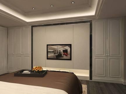 简欧风格卧室白色电视背景墙装修效果图