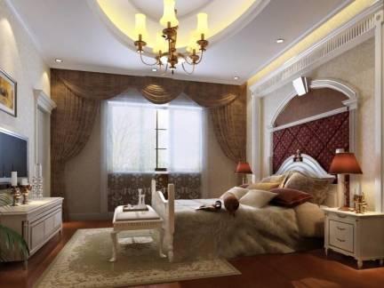 棕色欧式风格卧室吊顶装修设计图