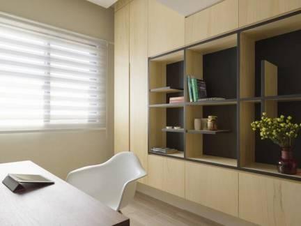 米色现代风格书房飘窗装修效果图