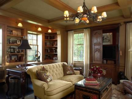 棕色美式风格客厅温馨书柜装修图片