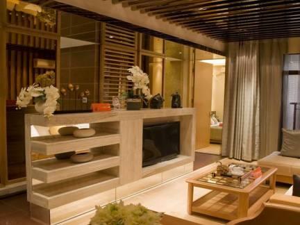 棕色中式风格客厅吊顶装修图片