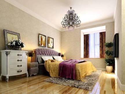 米色简欧风格卧室背景墙装修图片