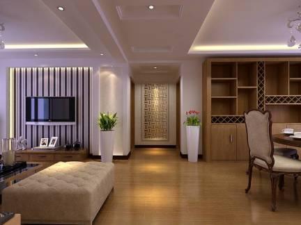 棕色温馨现代风格客厅吊顶装修图片