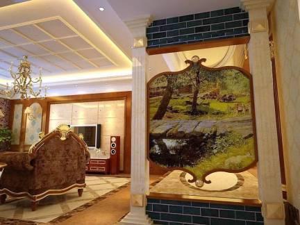 棕色欧式风格客厅玄关装修美图