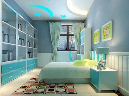 蓝色地中海风格儿童房床装修图片