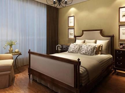 棕色舒适美式风格卧室床头柜装修设计图