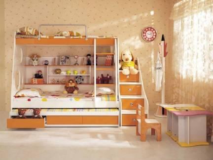 米色简欧风格儿童房榻榻米装修图
