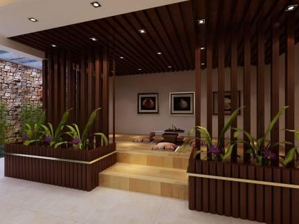 棕色东南亚风格阳台榻榻米吊顶装修美图