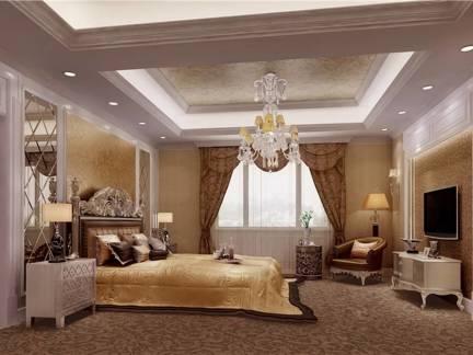 棕色欧式风格卧室窗帘装修效果图