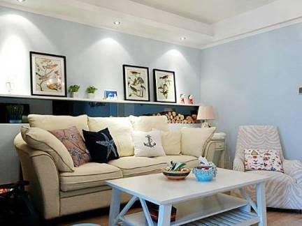白色地中海风格客厅吊顶装修美图