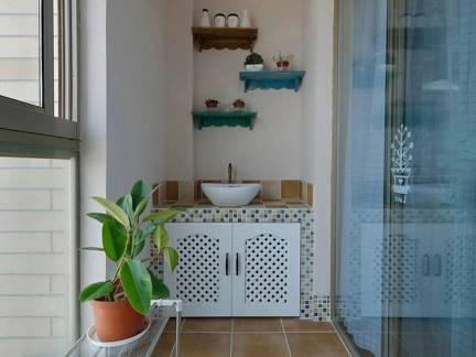 彩色地中海风格雅致阳台储物柜装修效果图
