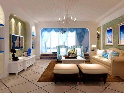 米色地中海风格客厅电视柜装修美图