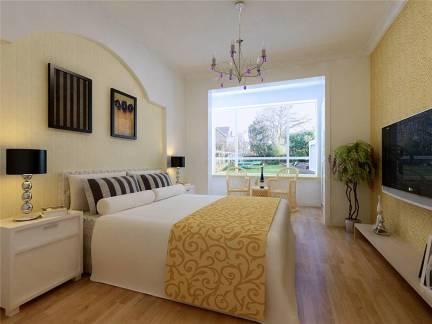 米色现代风格卧室照片墙装修效果图