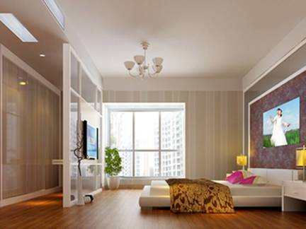 米色现代风格浪漫卧室电视柜装修图片
