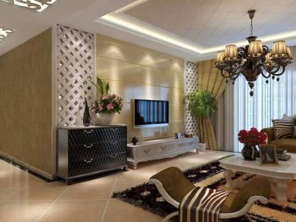 简欧风格客厅棕色电视背景墙装修效果图